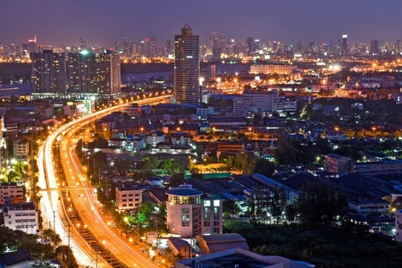Bangkok Freeway to City Top View at dusk in bangkok, Thailand Stock Photo - 8336035