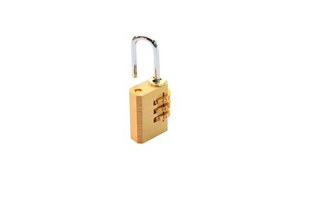 open metallic numeric padlock isolated on white photo