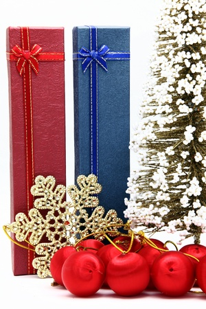 red and blue holiday box with christmas tree and ornament photo
