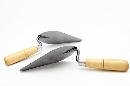 lute: perspective of isolated of lute trowel Stock Photo