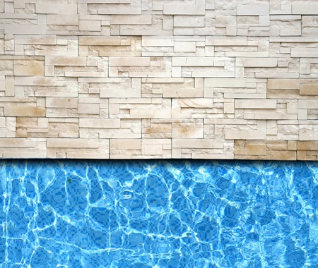 balcony design: modern brick pavement with pool background