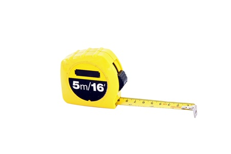 instrument of measurement: measuring tape for construction isolated on white