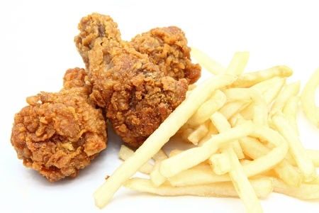 crispy: crispy and spicy fried chicken with french fries