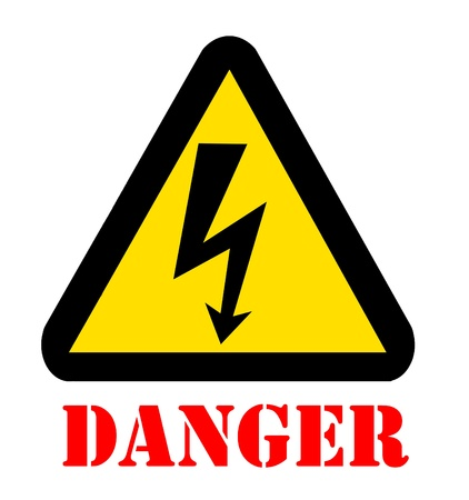 beware: Sign of Danger High Voltage Symbol with text