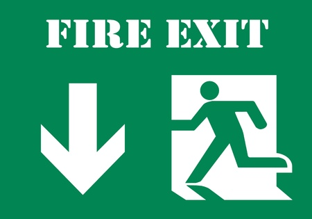 Fire Exit symbol with text photo