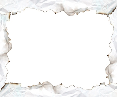 burnt edges: burnt edge paper with space for text on white background Stock Photo