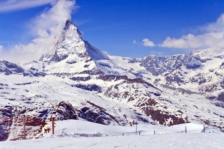 chocolate peak: Landscape of Matterhorn peak, logo of Toblerone chocolate, located at Gornergrat in Switzerland