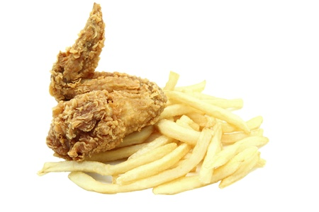 crispy and spicy fried chicken wing with french fries Stock Photo - 8568573