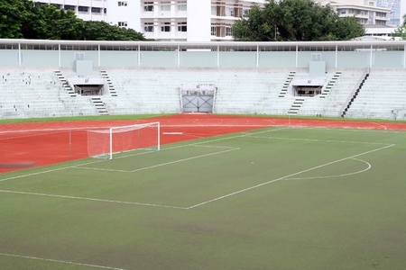 goalline: soccer football goal with penalty area on fake grass pitch Stock Photo