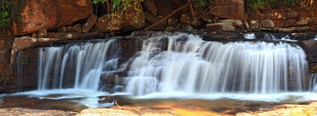 miracle leaf: panoramic view of tropical Tadtone waterfall in rain forest in Chaiyaphum North east of Thaland Stock Photo