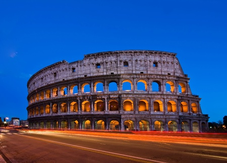 Colosseum at dusk with Light Trail, Rome photo