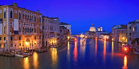 panoramic view of Grand canal Venice Italy. photo
