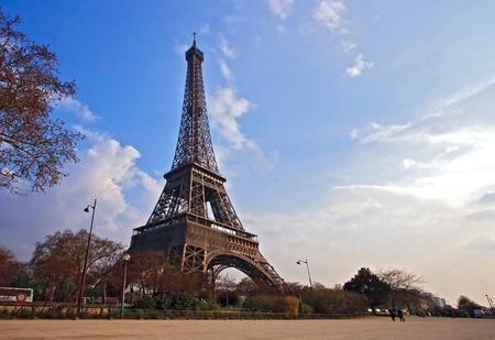 Eiffel tower from Garden in Paris France