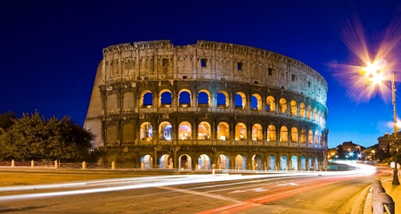 Light trails at Colosseum in twilight, Rome Italy Stock Photo - 8838999