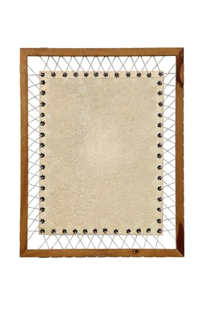 Vintage Paper with rope and wooden frame photo