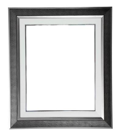 marco blanco y negro: aislado marco moderno plata en blanco