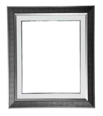 black picture frame: isolated silver modern frame on white