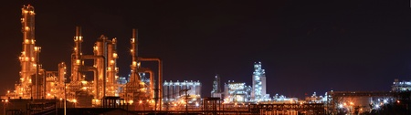 oil refinery: panoramic of oil refinery factory and storage