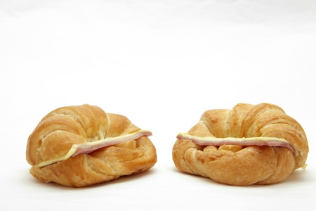 two Ham Cheese croissant on white photo