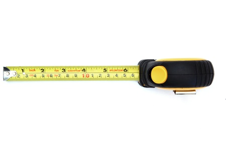 measure: isolated yellow measuring tape on white from top