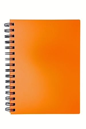 close to: isolated blank orange ring binding book Stock Photo