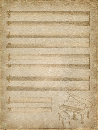 vintage music Paper with grand piano photo