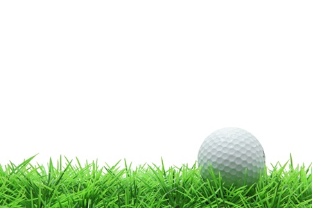 isolated golf ball on green grass over white background photo