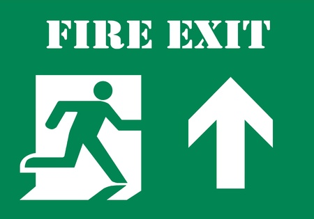 Symbol of Fire Exit Sign with Arrow up isolated on Green Head Right Stock Photo - 8968001