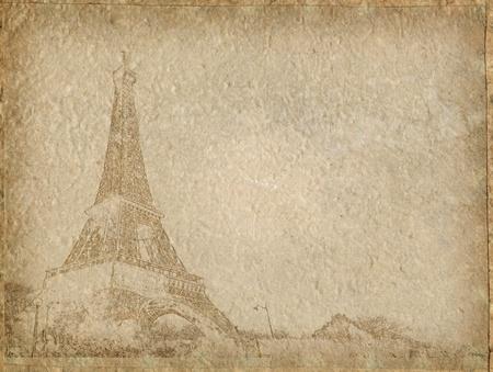 paris vintage: A�ada papel con Par�s de Torre Eiffel Foto de archivo