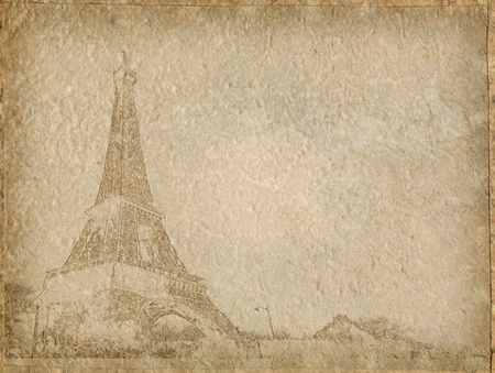 vintage Paper with Eiffel Tower Paris photo