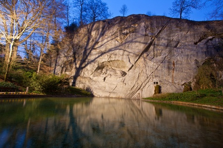 dying lion monument in Lucern Switzerland at dusk Stock Photo - 8968038