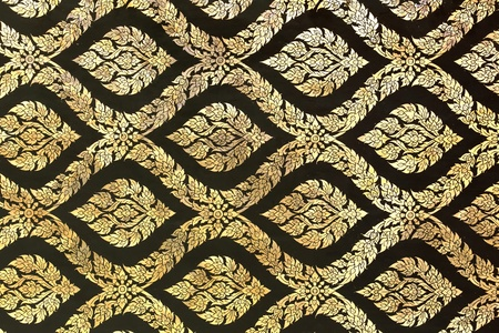 thai painting: Thai Traditional golden ornament Painting Pattern on Temple door