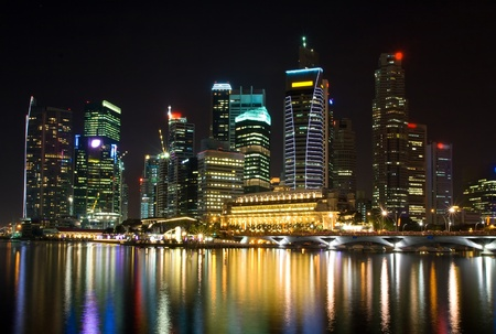 skyscraper in Singapore at night Stock Photo - 9062385