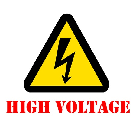 electricity danger of death: Danger High Voltage Symbol with text