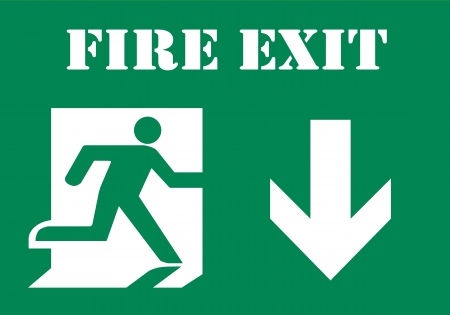 emergency light: Fire Exit Symbol  Stock Photo