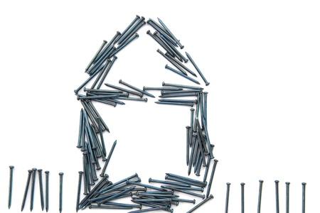 hobby hut: house from nails Stock Photo