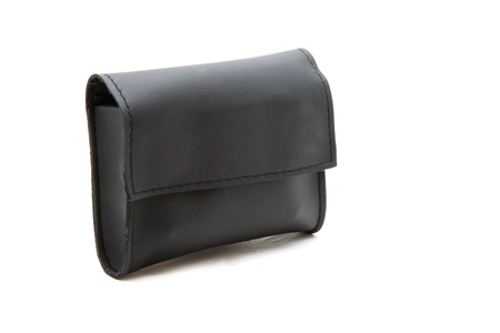 isolated black leather purse or wallet Stock Photo - 9062784