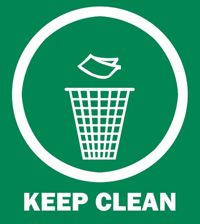 Sign of Keep Clean and Litter bin, symbol photo