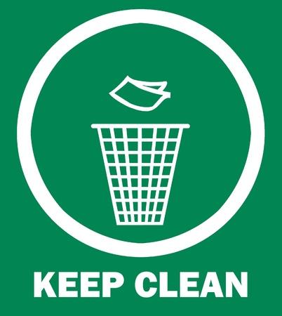 erhaltend: Zeichen von sauber zu halten und Wurf bin, symbol