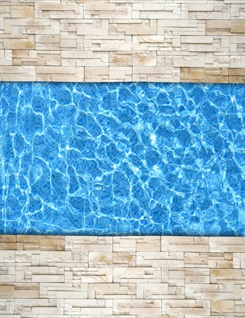 natural pool: modern brick pavement with pool edge background