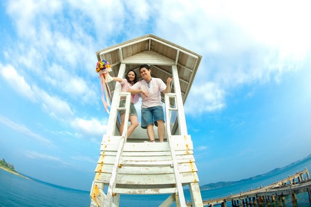 happiness couples with blue sky photo
