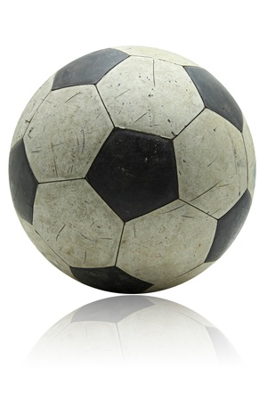 mirror ball: grunge soccer football with its reflection on white