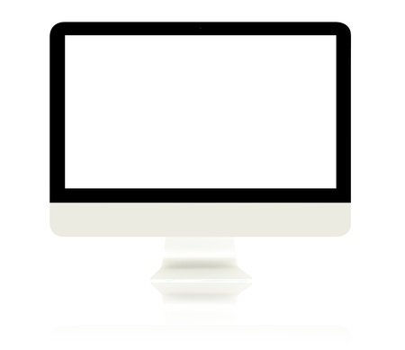 Computer Monitor and its reflection with blank white screen isolated on white background. Stock Photo - 9212541