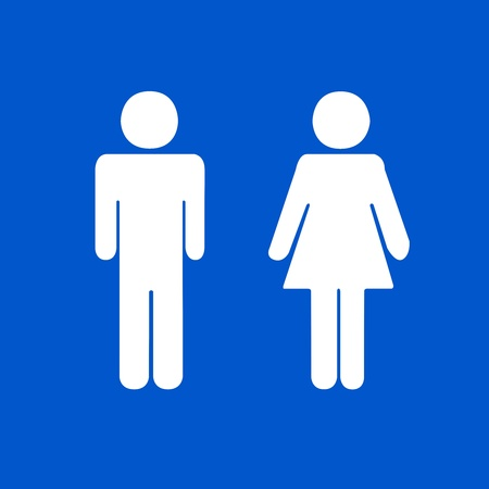 washroom: Restroom toilet or WC Sign on Blue