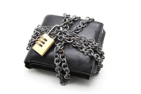 Black leather wallet met numerieke toetsenblok vergrendelen