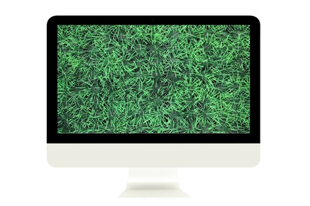 Computer Monitor with green grass on screen isolated on white background. photo