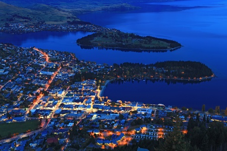 wakatipu: Cityscape of queenstown with lake Wakatipu from top at dusk.