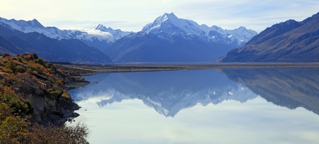 panoramic of mount cook and refection on lake pukaki photo