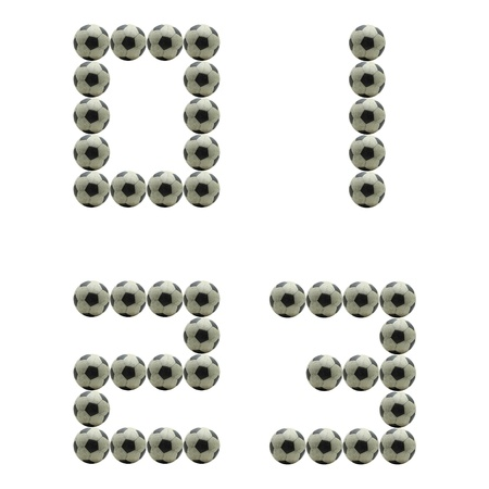 num: letter Number 0 1 2 3 made from grunge scratch football isolated on white Stock Photo