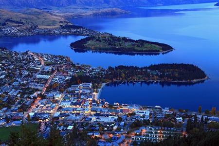 aerial view of queenstown downtown at dusk photo